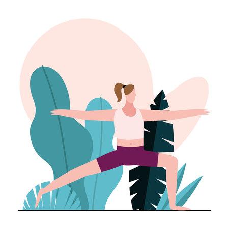 young woman practicing gymnastics character vector illustration design