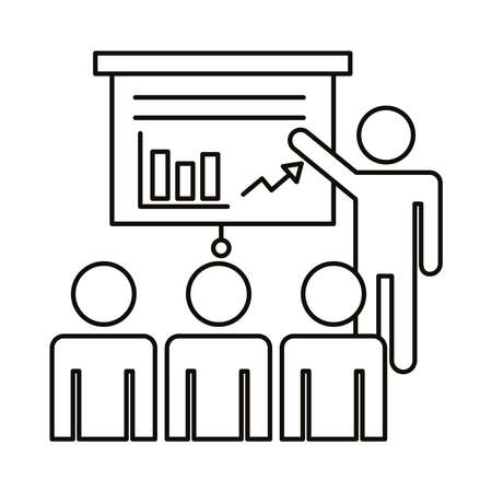 four workers training with statistics coworking line style icon vector illustration design