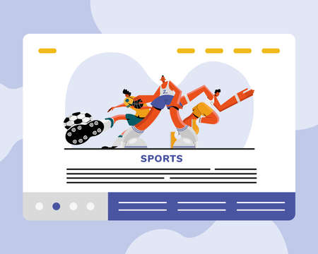 male athletes practicing soccer and running sports characters vector illustration design