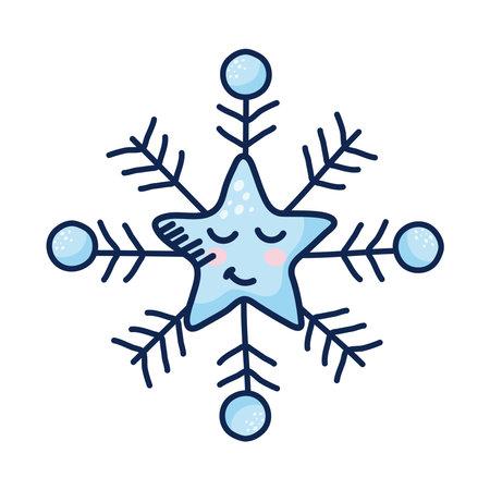 star snowflake kawaii weather comic character vector illustration design