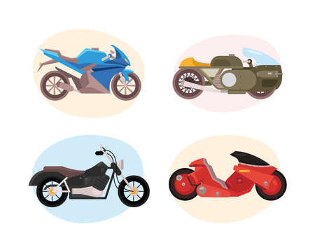 bundle of four motorcycles vehicles differents styles vector illustration design
