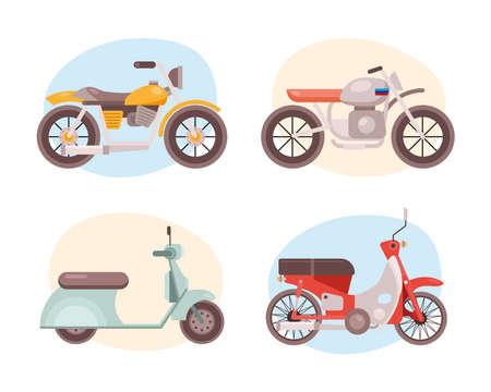 bundle of four motorcycles vehicles differents styles icons vector illustration design