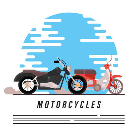motorbikes old chopper and street styles vehicles vector illustration design