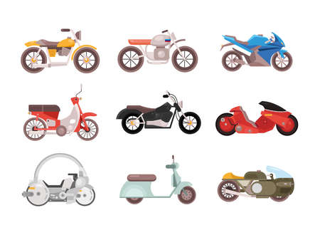 bundle of nine motorcycles vehicles differents styles vector illustration design
