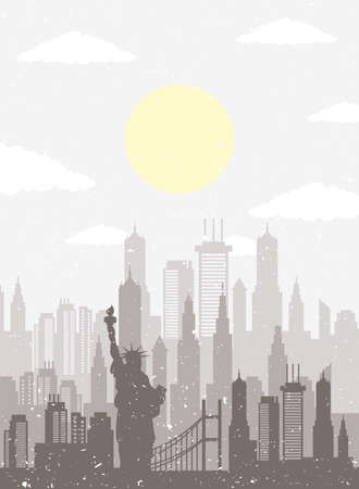 cityscape new york skyline scene icon vector illustration design