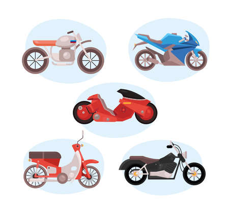 bundle of five motorcycles vehicles differents styles vector illustration design