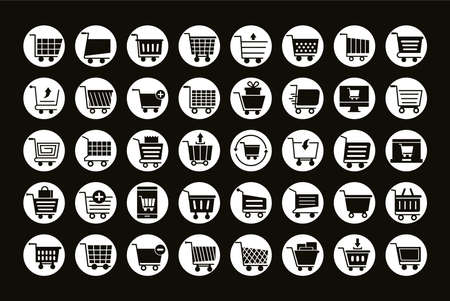 bundle of fourty shopping carts line style icons vector illustration design