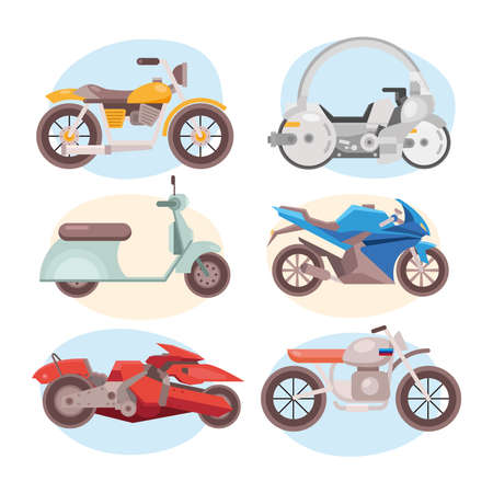 bundle of six motorcycles vehicles differents styles vector illustration design