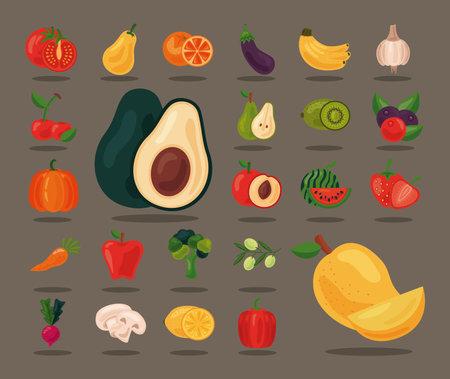 bundle of twenty four fresh fruits and vegetables healthy food set icons vector illustration design