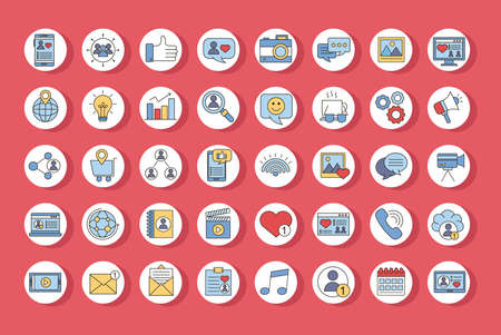 bundle of fourty social media set line and fill style icons vector illustration design Çizim