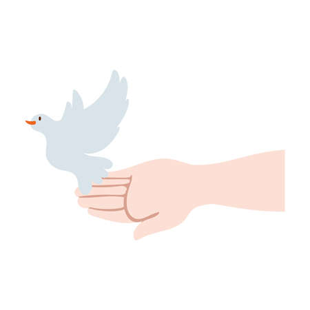 hand lifting dove bird flying peace vector illustration design