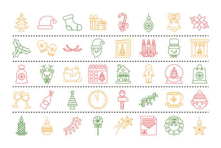 bundle of fourty merry christmas set line style icons vector illustration design
