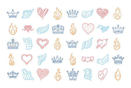 bundle of fourty wings and flames with hearts and crowns vector illustration design