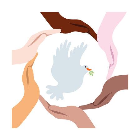 interracial hands around dove bird flying vector illustration design