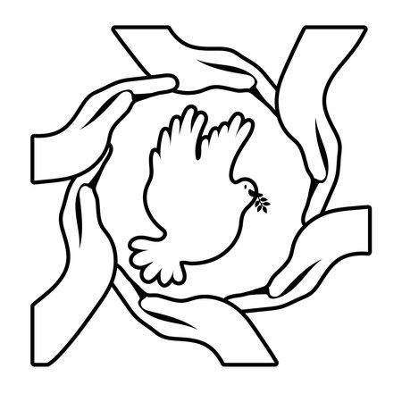 interracial hands around dove bird flying line style icon vector illustration design Vettoriali