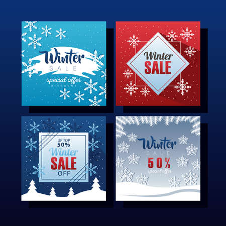 four big winter sale letterings with snowflakes vector illustration design Ilustracja