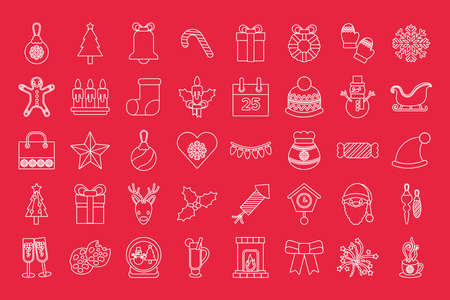 bundle of fourty merry christmas line style icons vector illustration design