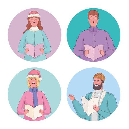 four persons singing christmas carols vector illustration design