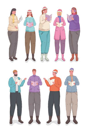 ten persons wearing winter clothes singing christmas carols vector illustration design