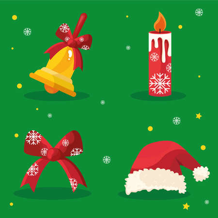 bundle of four happy merry christmas icons in red background vector illustration design Ilustracja