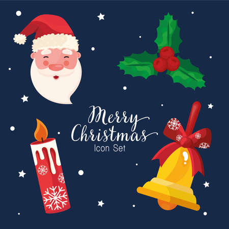 bundle of four happy merry christmas icons and lettering vector illustration design