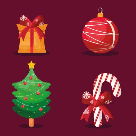 bundle of four happy merry christmas icons vector illustration design Ilustracja