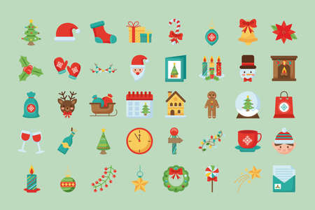 bundle of fourty merry christmas set flat style icons vector illustration design Çizim