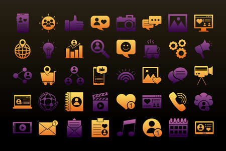 bundle of fourty social media set block style icons vector illustration design