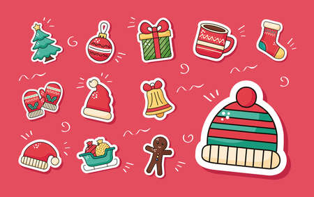 winter hat accessory and set stickers icons vector illustration design