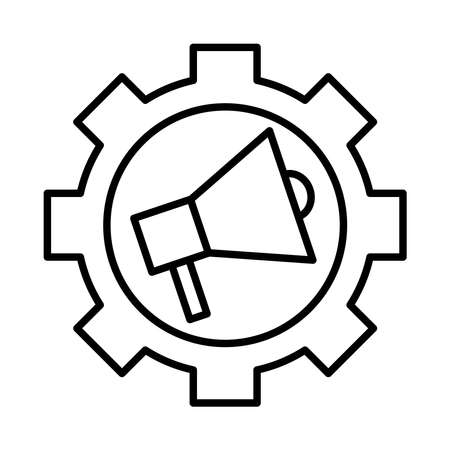 gear machine with megaphone line style icon vector illustration design Vector Illustration