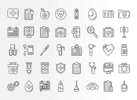 bundle of fourty doctor kit line style set icons vector illustration design Çizim