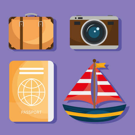 bundle of four vacations travel icons vector illustration design Ilustracja