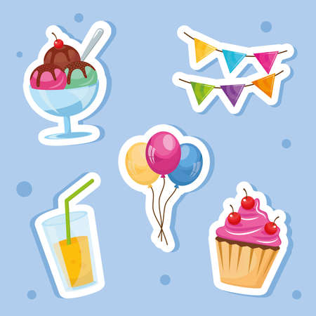 bundle of five party birthday icons vector illustration design