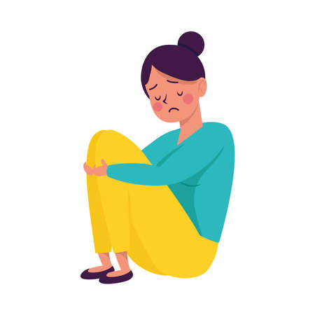 young woman seated victim of bullying character vector illustration design Illustration