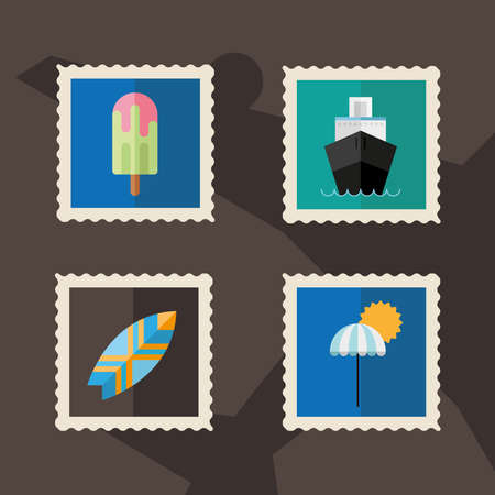 bundle of four vacations stamps icons vector illustration design