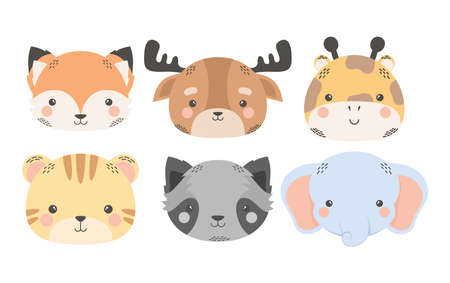 cute six animals comic cartoon characters vector illustration design