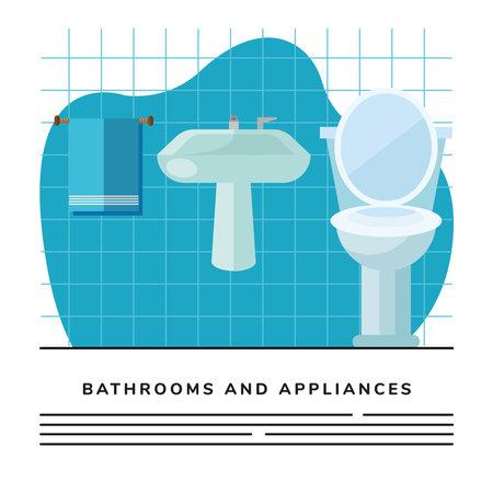 bathroom toilet and sink scene icon vector illustration design