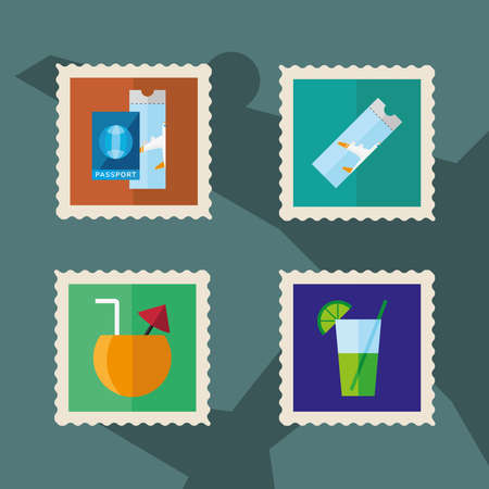 bundle of four vacations set stamps icons vector illustration design Ilustracja