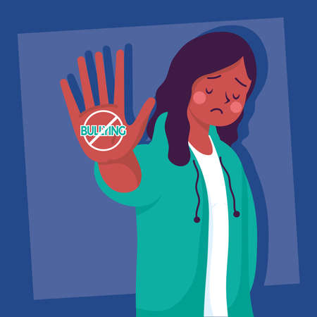 afro young woman victim of bullying with stop signal vector illustration design