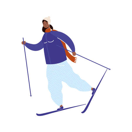 young afro woman wearing winter clothes practicing ski character vector illustration design