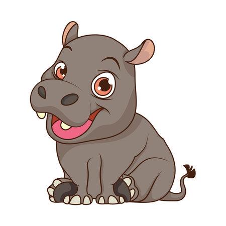 cute hippopotamus baby cartoon character vector illustration design Vektorgrafik