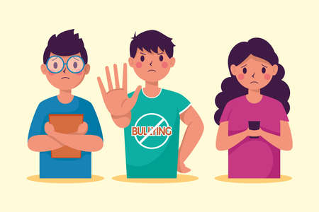 persons victim of bullying characters vector illustration design