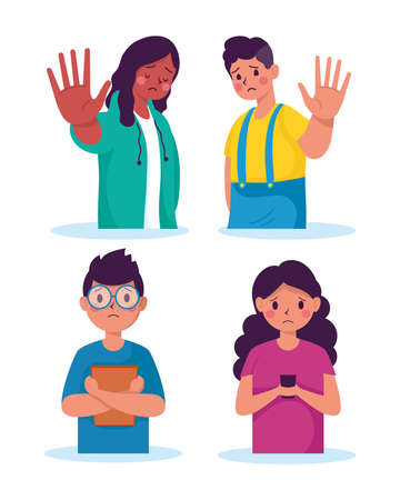 young people victims of bullying characters vector illustration design