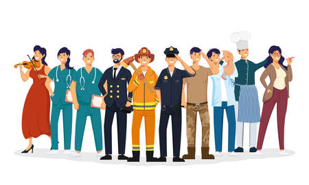 group of workers professions avatars characters vector illustration design