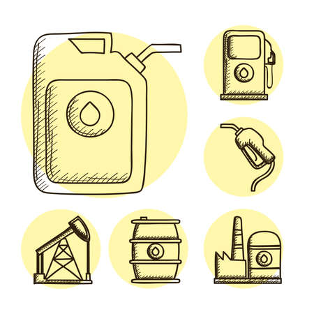 bundle of six oil drawn style set icons vector illustration design