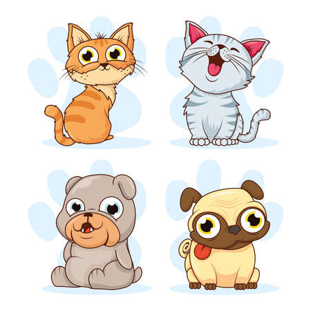 group of cats and dogs pets characters vector illustration design