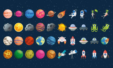 bundle of fourty space set icons vector illustration design