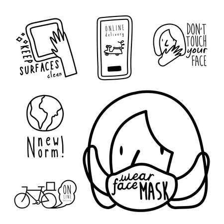 bundle of six new norm letterings campaign set line style icons vector illustration design