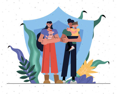 Family protection of mother father baby and son in front of shield design, Insurance health care and security theme Vector illustration