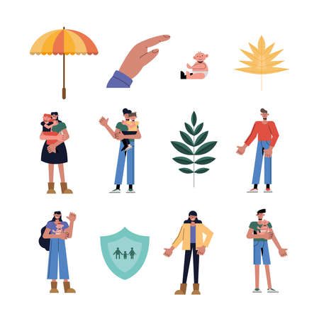 Family protection icon set design, Insurance health care and security theme Vector illustration Ilustracja